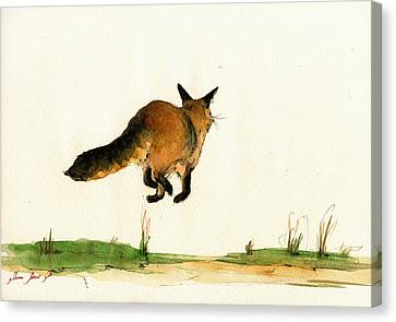 Running Fox Painting Canvas Print by Juan  Bosco