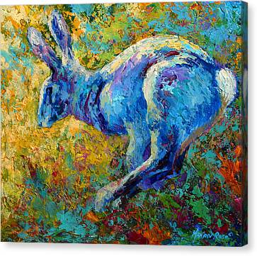 Running Hare Canvas Print by Marion Rose
