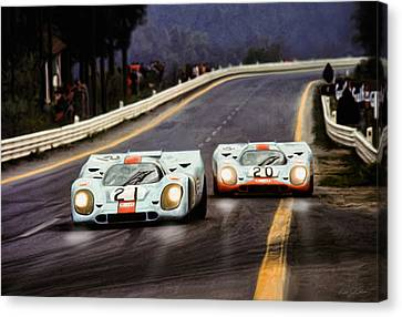 Running One Two Canvas Print by Peter Chilelli