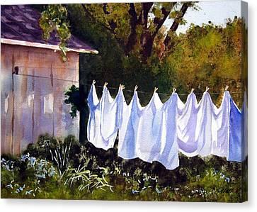 Rural Laundromat Canvas Print by Marsha Elliott