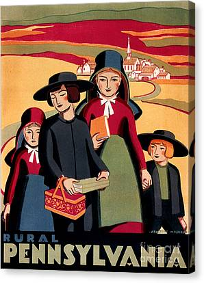Rural Pennsylvania 1938, Amish Children On A Way To School Canvas Print by Zalman Latzkovich