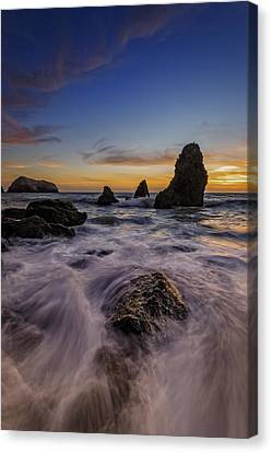 Rushing Tide On Rodeo Beach Canvas Print by Rick Berk
