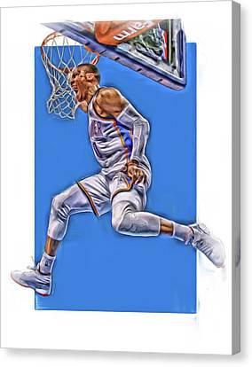 Russell Westbrook Oklahoma City Thunder Oil Art 2 Canvas Print by Joe Hamilton