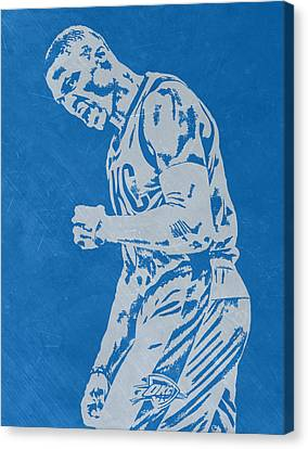 Russell Westbrook Scratched Metal Art 4 Canvas Print by Joe Hamilton