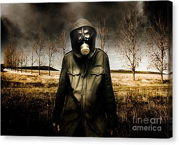 Russian Military Fighter Standing In A Dead Autumn Field As Contaminated Poisonous Air Falls From Th Canvas Print by Unknow