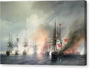Russian Turkish Sea Battle Of Sinop Canvas Print by Ivan Konstantinovich Aivazovsky