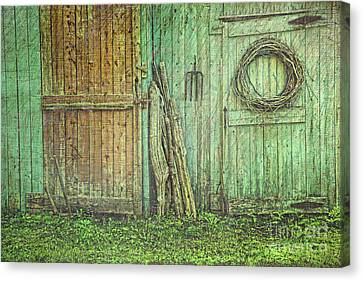 Rustic Barn Doors With Grunge Texture Canvas Print by Sandra Cunningham