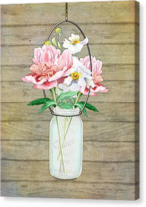 Rustic Country Peony N Poppy Mason Jar Bouquet On Wooden Fence Canvas Print by Audrey Jeanne Roberts