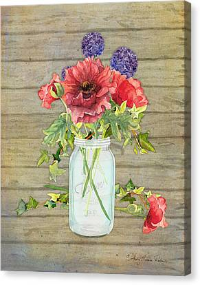 Rustic Country Red Poppy W Alium N Ivy In A Mason Jar Bouquet On Wooden Fence Canvas Print by Audrey Jeanne Roberts