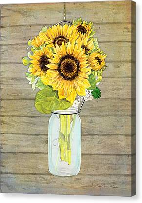 Rustic Country Sunflowers In Mason Jar Canvas Print by Audrey Jeanne Roberts