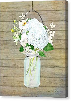 Rustic Country White Hydrangea N Matillija Poppy Mason Jar Bouquet On Wooden Fence Canvas Print by Audrey Jeanne Roberts
