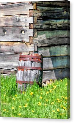 Rustic Rain Barrel At Old World Wisconsin Canvas Print by Christopher Arndt