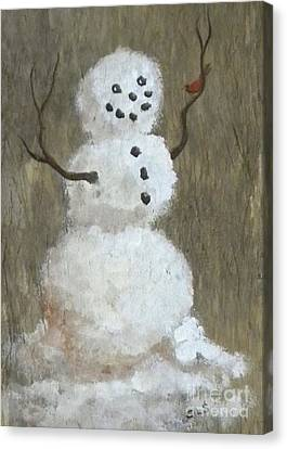 Rustic Snowman And Little Red Bird, A Warm Friendship, Small Crop Canvas Print by Sheri Lauren Schmidt