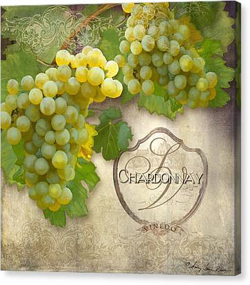 Rustic Vineyard - Chardonnay White Wine Grapes Vintage Style Canvas Print by Audrey Jeanne Roberts