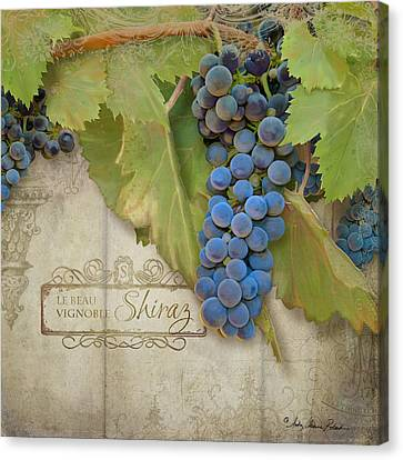 Rustic Vineyard - Shiraz Wine Grapes Over Stone Canvas Print by Audrey Jeanne Roberts