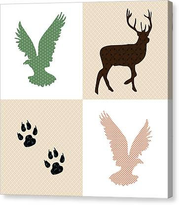 Rustic Wildlife Pattern Canvas Print by Christina Rollo