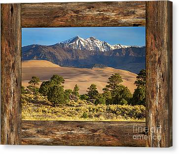 Rustic Wood Window Colorado Great Sand Dunes View Canvas Print by James BO Insogna
