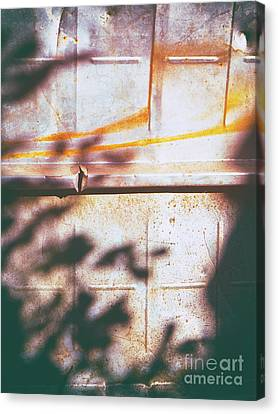 Rusty Metal Door With Shadows Canvas Print by Silvia Ganora