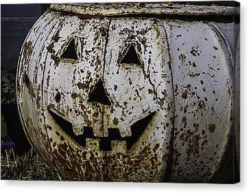 Rusty Metal Pumpkin Canvas Print by Garry Gay