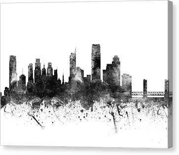 Sacramento California Cityscape 02bw Canvas Print by Aged Pixel