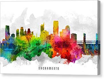Sacramento California Cityscape 12 Canvas Print by Aged Pixel