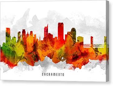 Sacramento California Cityscape 15 Canvas Print by Aged Pixel