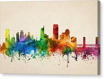 Sacramento California Skyline 05 Canvas Print by Aged Pixel