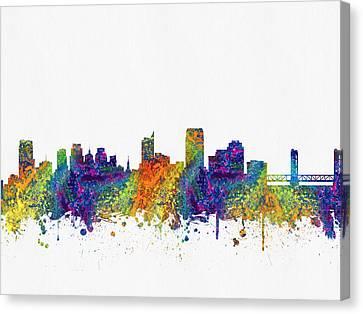 Sacramento California Skyline Color03 Canvas Print by Aged Pixel