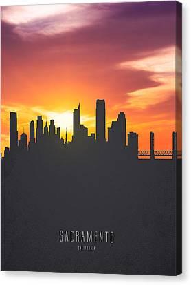 Sacramento California Sunset Skyline 01 Canvas Print by Aged Pixel