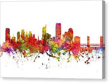 Sacramento Cityscape 08 Canvas Print by Aged Pixel