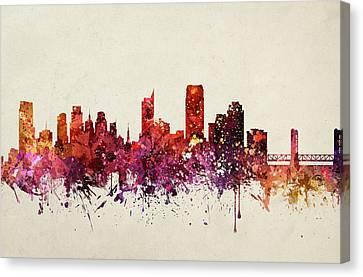 Sacramento Cityscape 09 Canvas Print by Aged Pixel