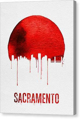 Sacramento Skyline Red Canvas Print by Naxart Studio