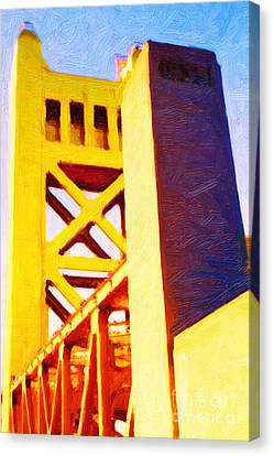 Sacramento Tower Bridge In Abstract - 7d11564 Canvas Print by Wingsdomain Art and Photography