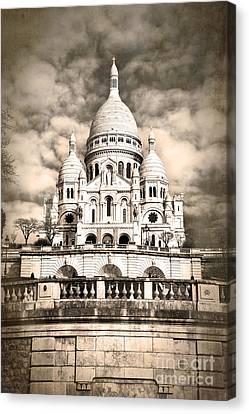 Sacre Coeur Sepia Canvas Print by Jane Rix