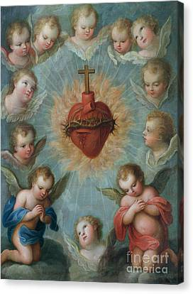 Sacred Heart Of Jesus Surrounded By Angels Canvas Print by Jose de Paez