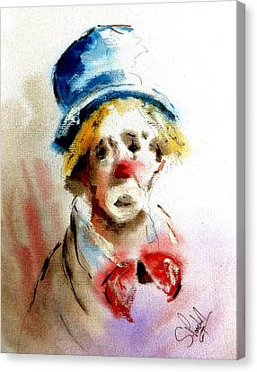 Sad Clown Canvas Print by Steven Ponsford