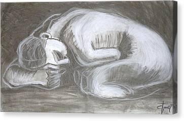 Sad Danaid - Female Nude Canvas Print by Carmen Tyrrell