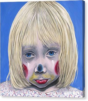 Sad Little Girl Clown Canvas Print by Patty Vicknair