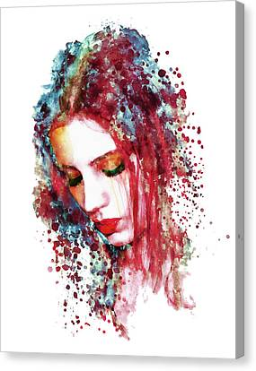 Sad Woman Canvas Print by Marian Voicu