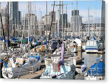 Sail Boats At San Francisco China Basin Pier 42 With The San Francisco Skyline . 7d7675 Canvas Print by Wingsdomain Art and Photography