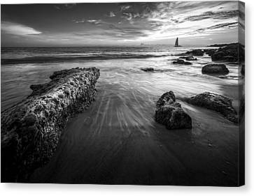 Sail Into The Sunset - Bw Canvas Print by Marvin Spates