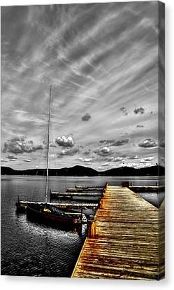 Sailboat At The Dock Canvas Print by David Patterson