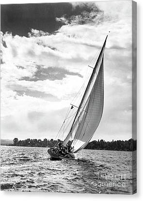 Sailboat Off Shore Canvas Print by Ewing Galloway