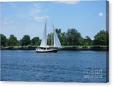 Sailboat On The Potamac Canvas Print by Jimmy Clark
