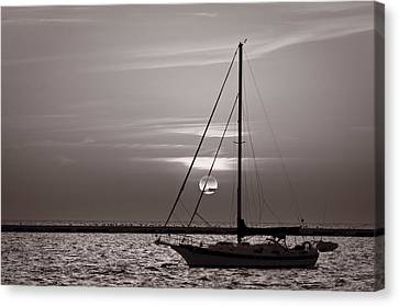 Sailboat Sunrise In B And W Canvas Print by Steve Gadomski