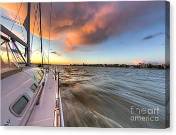 Sailboat Sunset Charleston Battery Canvas Print by Dustin K Ryan
