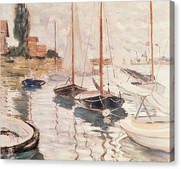 Sailboats On The Seine Canvas Print by Claude Monet