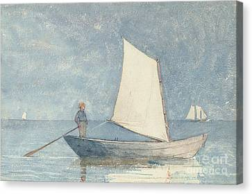 Sailing A Dory Canvas Print by Winslow Homer