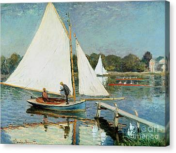 Sailing At Argenteuil Canvas Print by Claude Monet