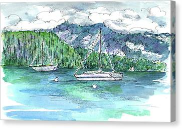 Sailing Lake Tahoe Canvas Print by Cathie Richardson